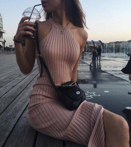Image of Knit halter neck sleeveless vest skirt package hip dress skirt slim skirt slit backing