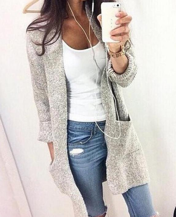 Image of Long sleeve cardigan coat color fashion casual sweater coat