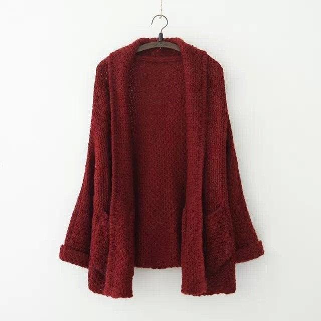 Image of Loose volume bat sleeve, sleeve, the long knit sweater cardigan increasing female coat