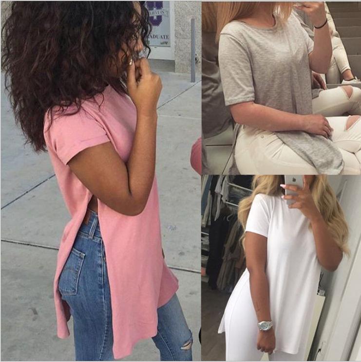 Image of Round collar short sleeve split female T-shirt