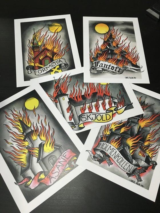 Image of Set of burning churches.