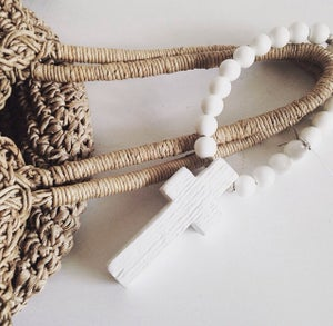 Image of Love Beads for the home - Reclaimed Mini Style in White with Cross
