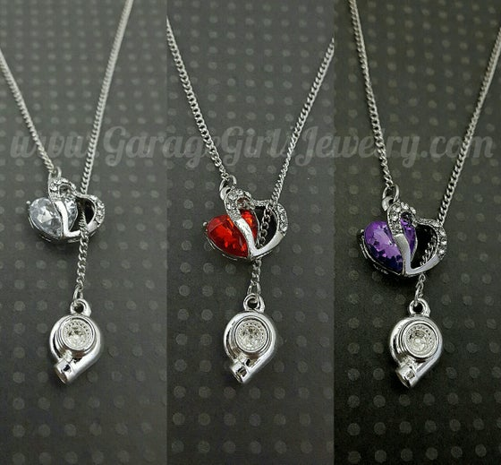 Image of Crystal Heart Car Part Lariat Necklace®