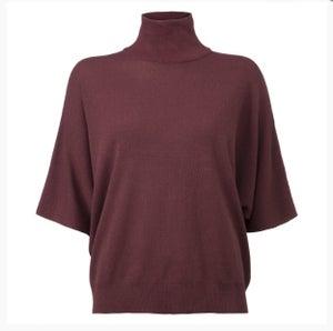 Image of YAYA Crop round col sweater Plum