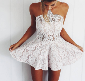 Image of hot lace straps romper dress