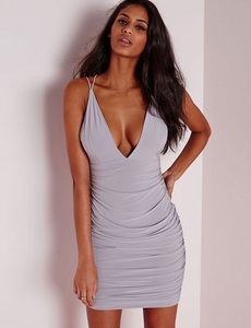 Image of Sexy tight sling dew shoulder bag hip deep V dress skirt