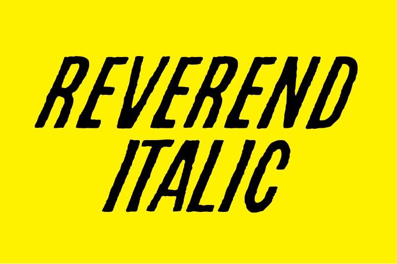Image of Reverend Italic font
