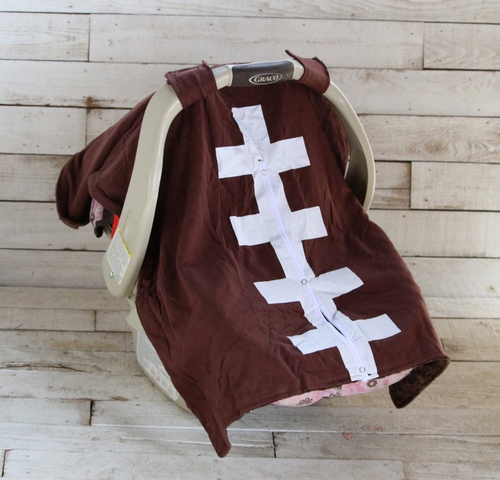 Image of Brown Touchdown car seat canopy