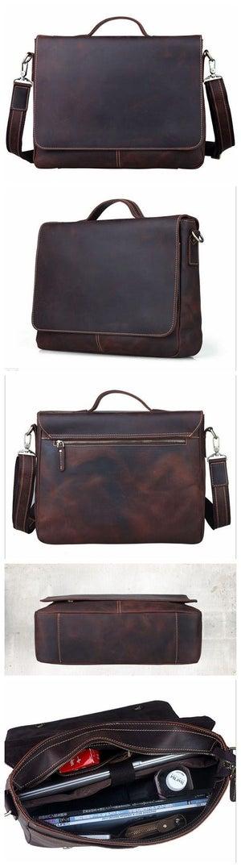 """Image of Vintage Handmade Antique Leather Briefcase Messenger 13"""" 14"""" 15"""" Laptop 13"""" 15"""" MacBook Bag (n78-2)"""
