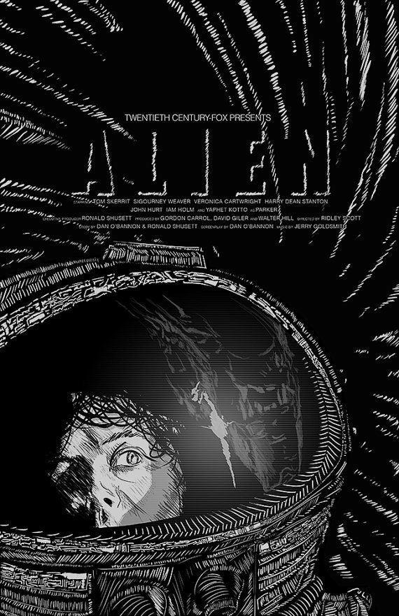 Image of Alien Screenprint 11x17 Ridley Scott sigourney weaver print