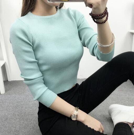 Image of CUTE SEXY LONG SLEEVE PINK KNIT TOP