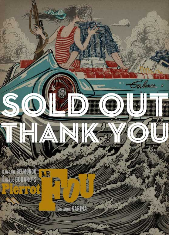 Image of SOLD OUT:  limited edition Godard PIERROT LE FOU 11 color silkscreen poster (NOIR edition)