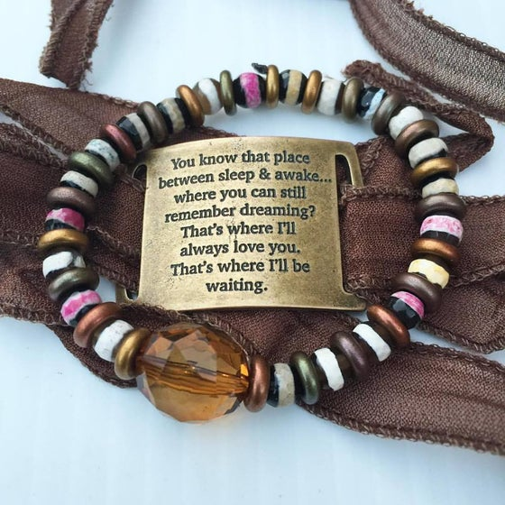 Image of Yoga Wrap Bracelet with Brass Piece and Tribal Agate Bracelet