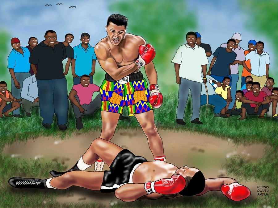 Image of JUNGLE FIGHT - Rolled Canvas Print 36 x 24