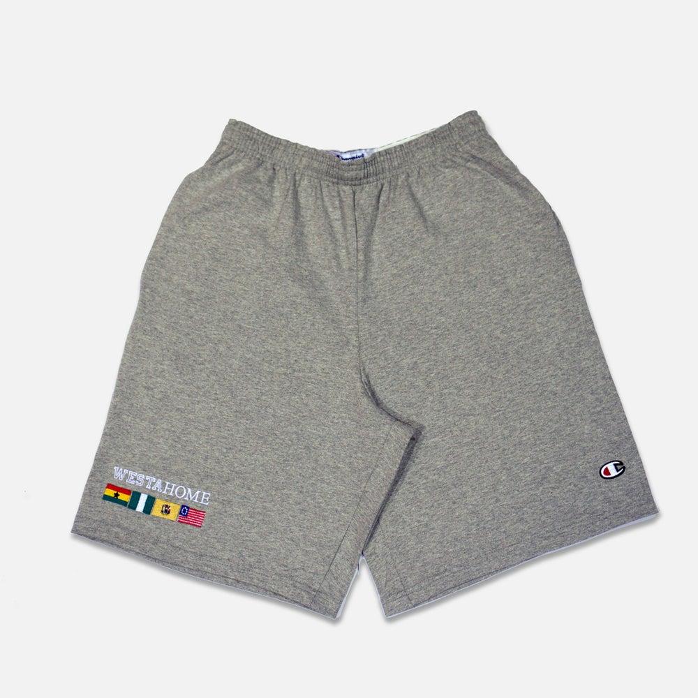 Image of WESTAHOME x Champion Flag Shorts - Grey