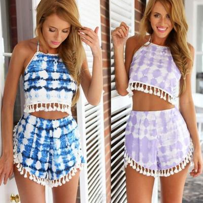 Image of Cute two piece tassel suit