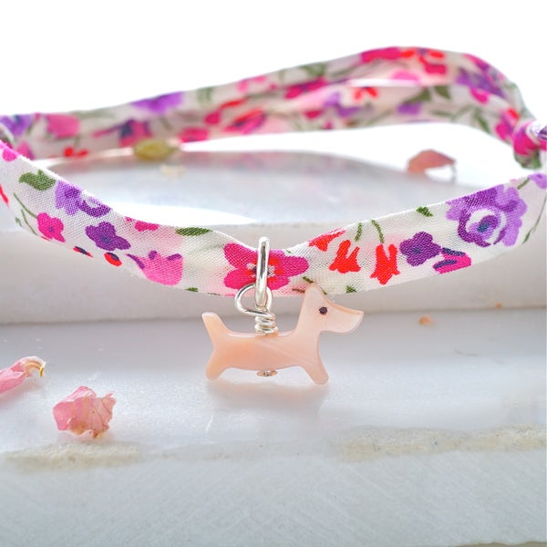 Image of Pink dog Liberty print bracelet