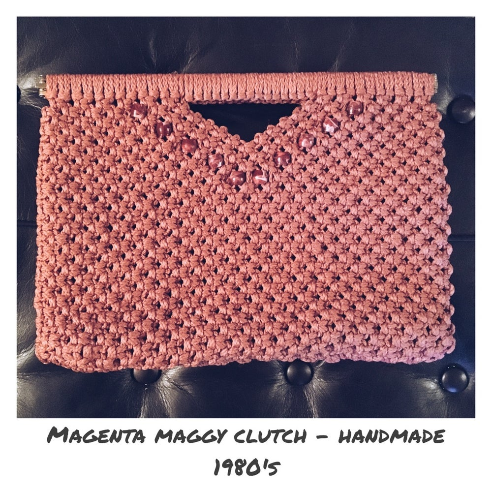 """Image of """"Magenta Maggy"""" Macrame' Clutch"""