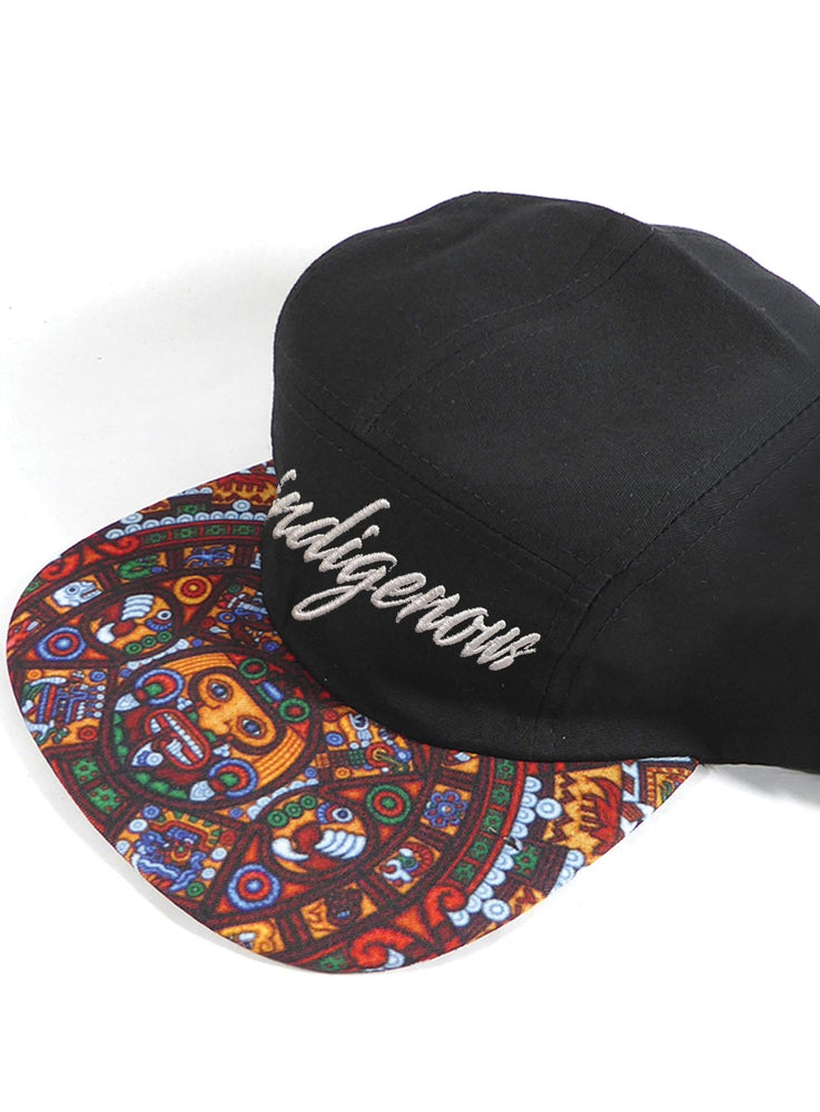 "Image of ""INDIGENOUS"" 5 PANEL, GENUINE LEATHER STRAP BACK ""THINKIN' CAP"""