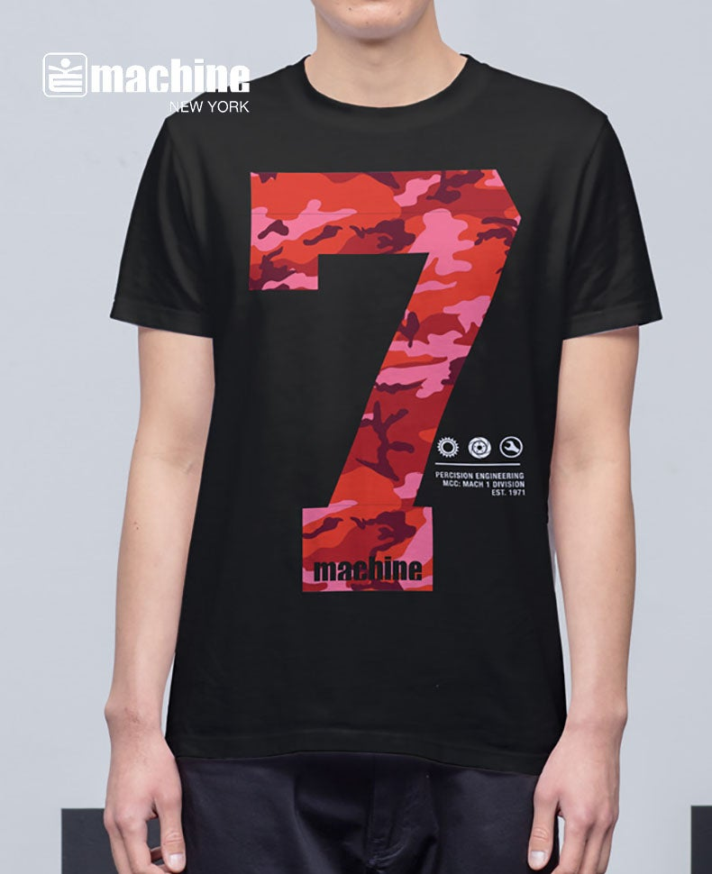 Image of MA81601 Machine 7 Camo on Black tee