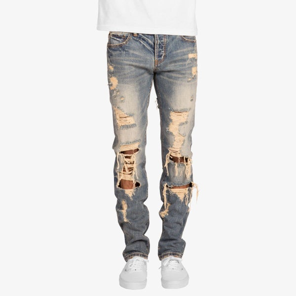 Image of DESTRESSED RIPPED DENIM JEANS