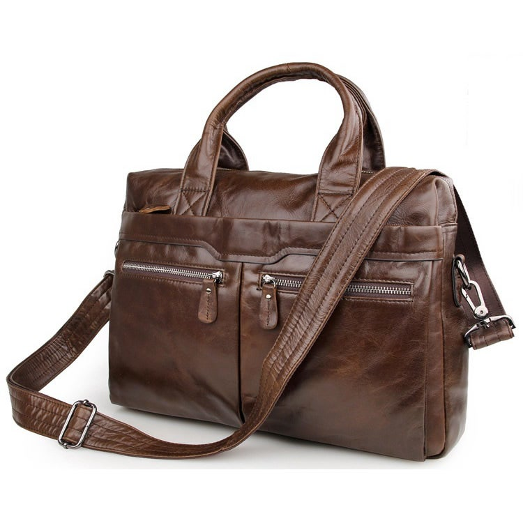 "Image of Men's Handmade Vintage Leather Briefcase / Messenger / 13"" 15"" MacBook 13"" 14"" Laptop Bag (n02)"