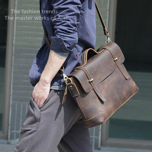 "Image of Men's Handmade Vintage Leather Briefcase / Messenger / 13"" 15"" MacBook 13"" 14"" Laptop Bag (n3612)"