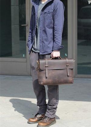 """Image of Men's Handmade Vintage Leather Briefcase / Messenger / 13"""" 15"""" MacBook 13"""" 14"""" Laptop Bag (n3612)"""