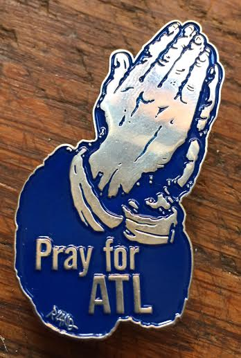Image of  Limited edition Pray for ATL enamel on metal lapel pin