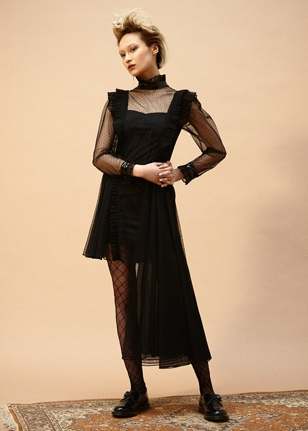 Image of Mourning Tulle and Vinyl Dress with Slip