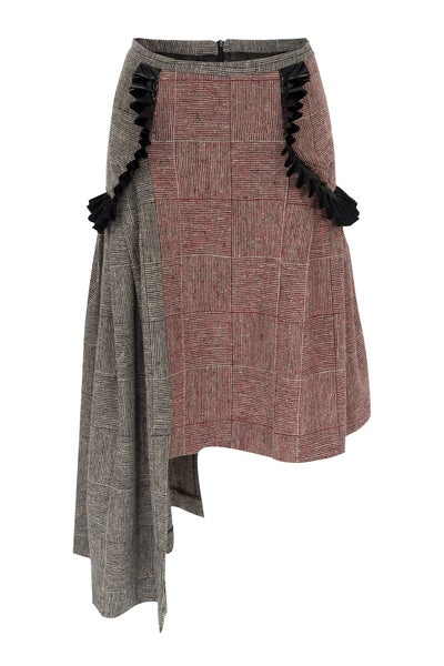 Image of Pleated Woven Basket Weave Asymmetrical Skirt with Vinyl