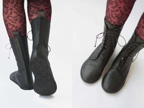 Image of Lace up boots - Impulse in Pebbled Black