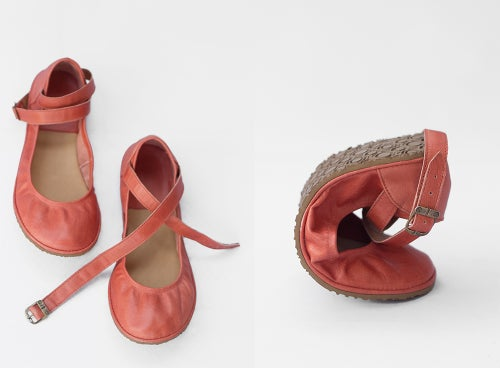 Image of Pax in Coral - Criss-Cross ankle strap flats