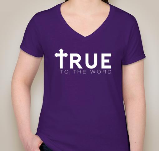 Image of True To The Word Logo || Purple  w/ White Logo || V-Neck