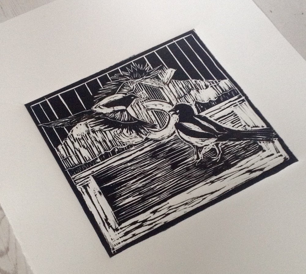 Image of Every day, A Joy: magpies, black and gold handmade limited edition