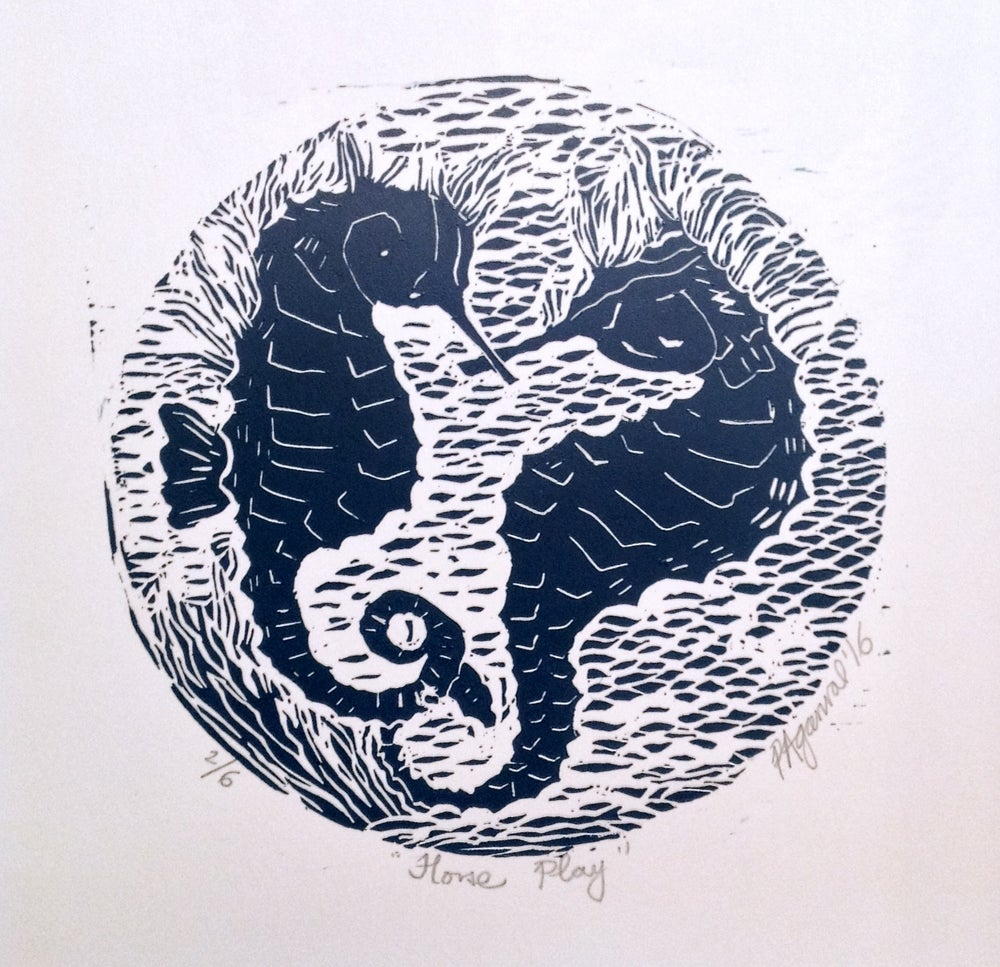 Image of Horse Play, pair of sea horses, handmade original Linocut