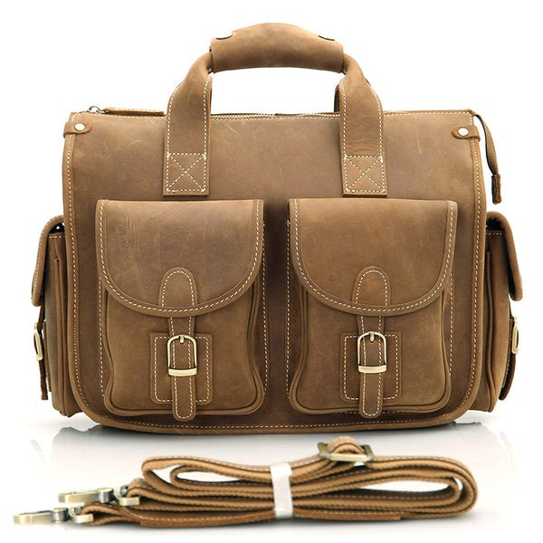 "Image of Vintage Handmade Crazy Horse Leather Briefcase / Messenger / 13"" MacBook or 13"" Laptop Bag (n77)"