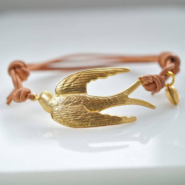Image of Swallow and initial bracelet