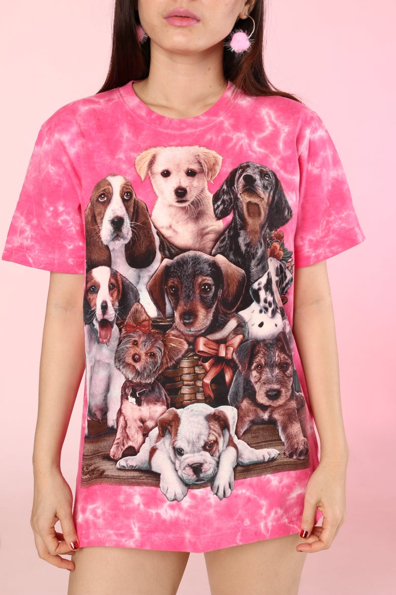 Image of Puppies Tee in Pink Tied Dyed