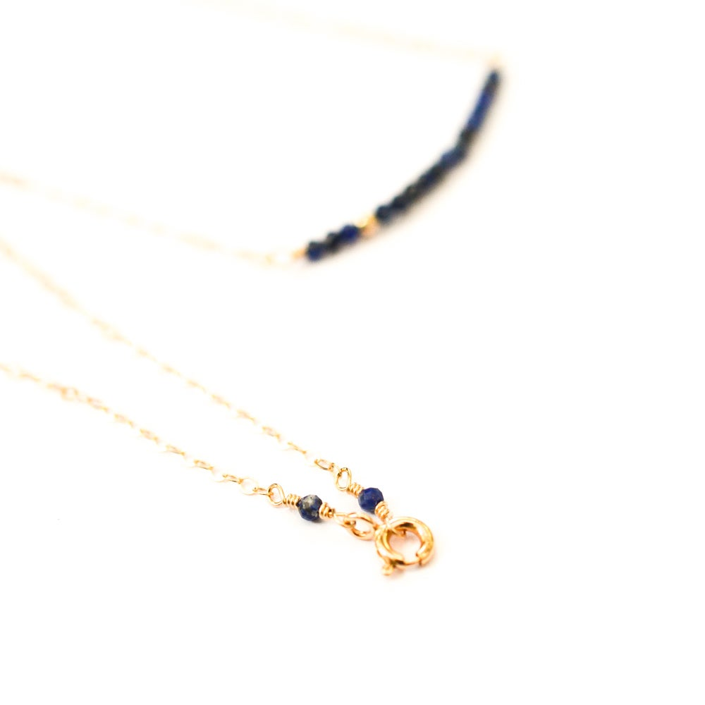 Image of Lapis lazuli line necklace 14kt gold-filled
