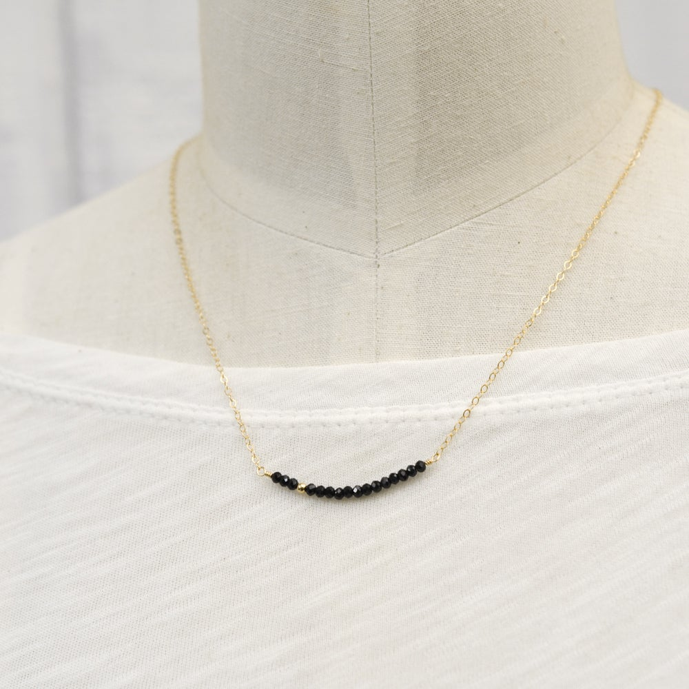 Image of Black spinel line necklace 14kt gold-filled