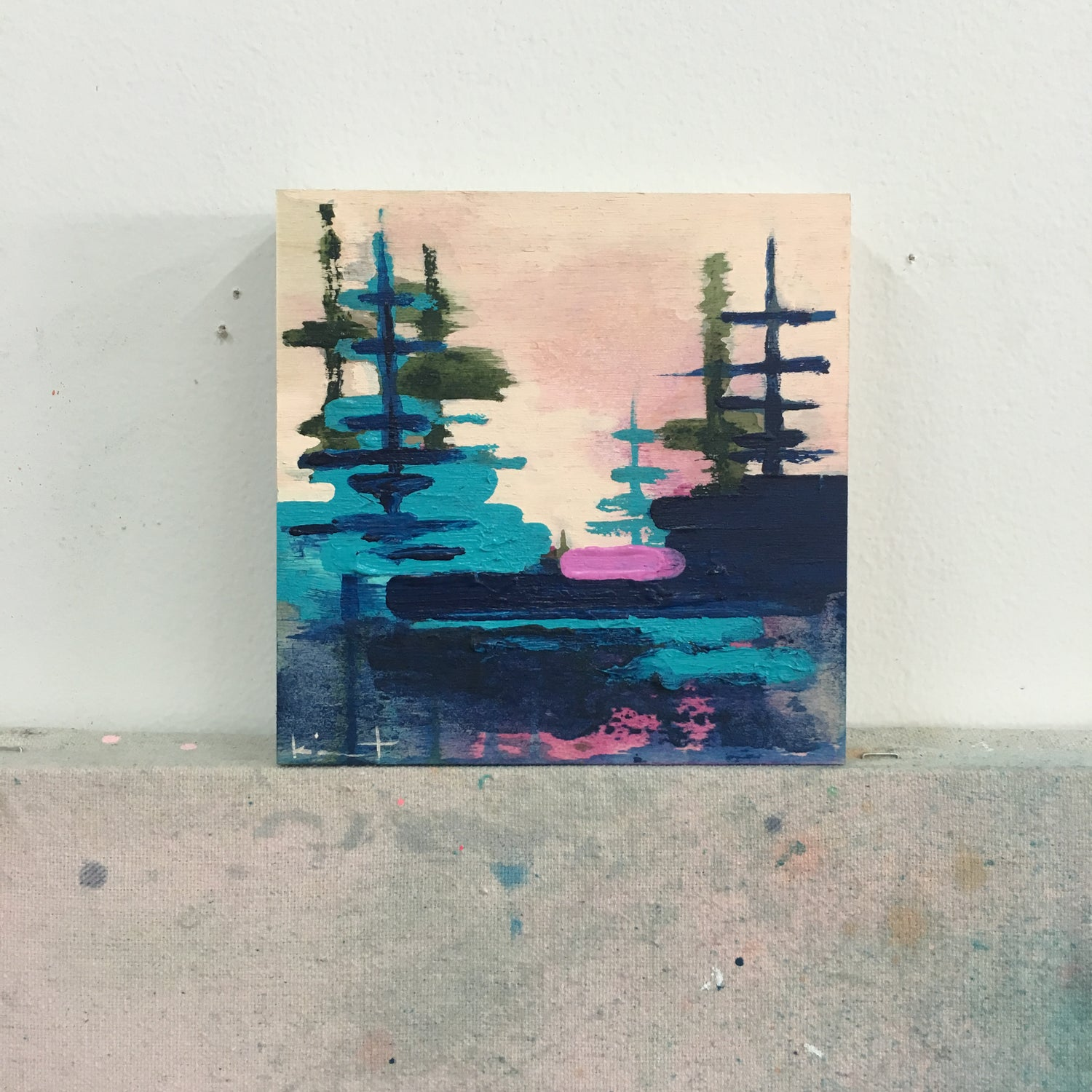 Image of tiny painting no. 42 (marine, teal, rose)