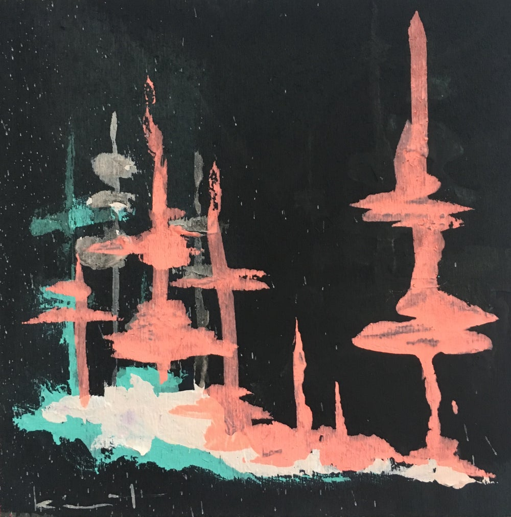 Image of tiny painting no. 45 (black, melon, gulf)
