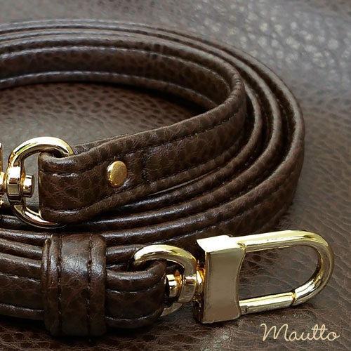 "Image of BROWN Premium Faux Leather Purse Strap - 1/2"" Wide - Gold or Nickel #16LG Hooks - Choose Length"