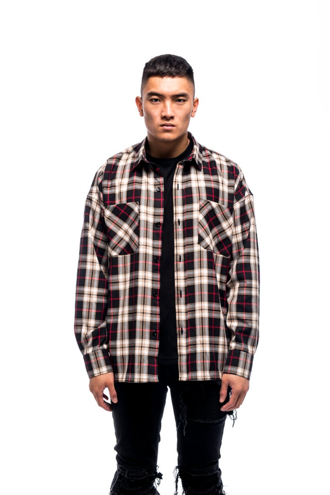 Image of OVERSIZED FLANNEL - BLACK SAND