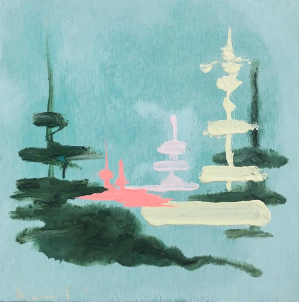 Image of tiny painting no. 49 (sky, cream, softest vermillion)
