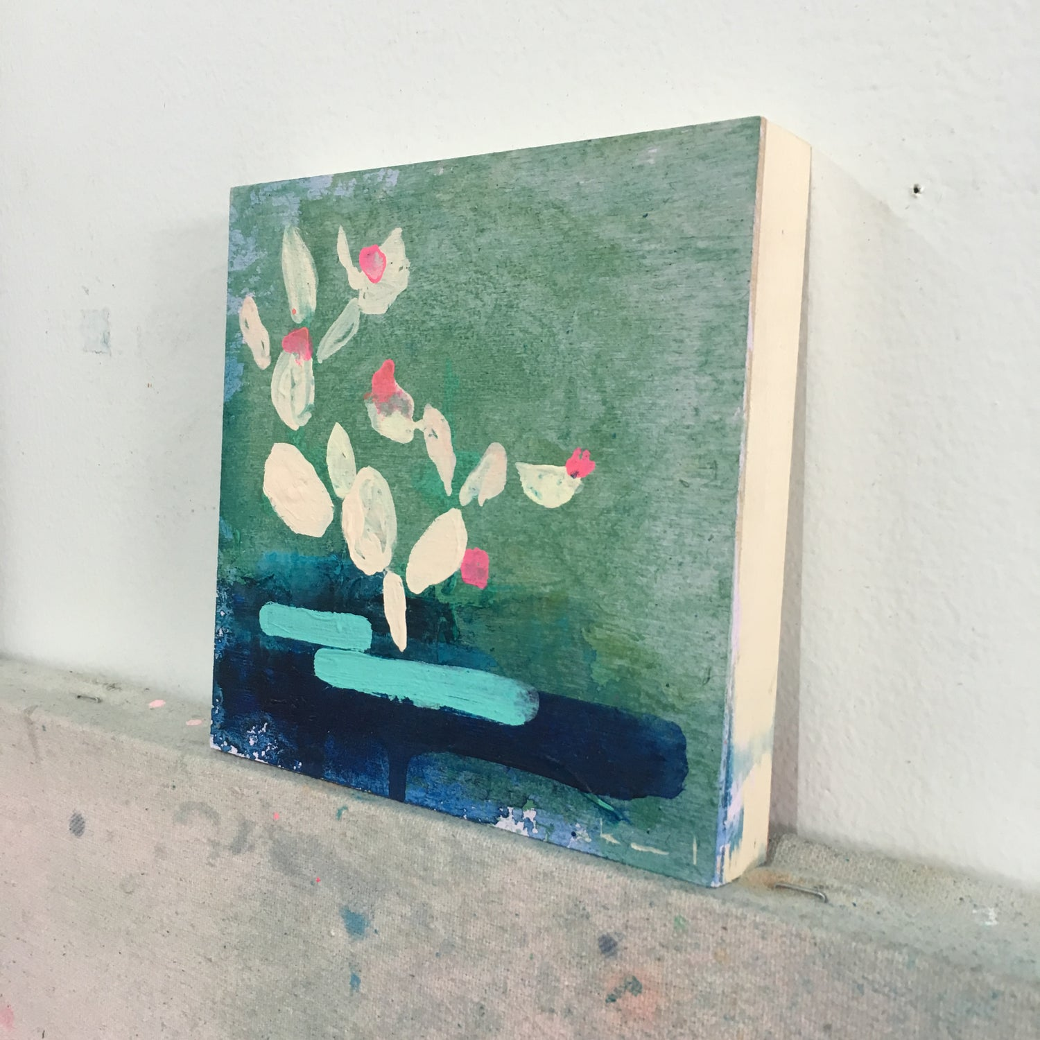 Image of tIny painting no. 50 (pool, soft vermillion, jade)