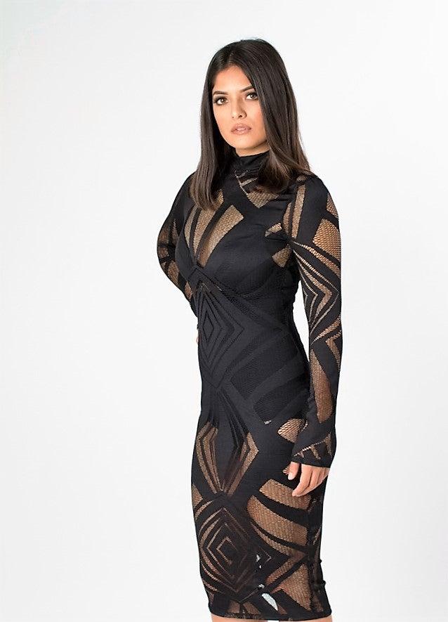 Image of Black Diamond Cut Lace Dress