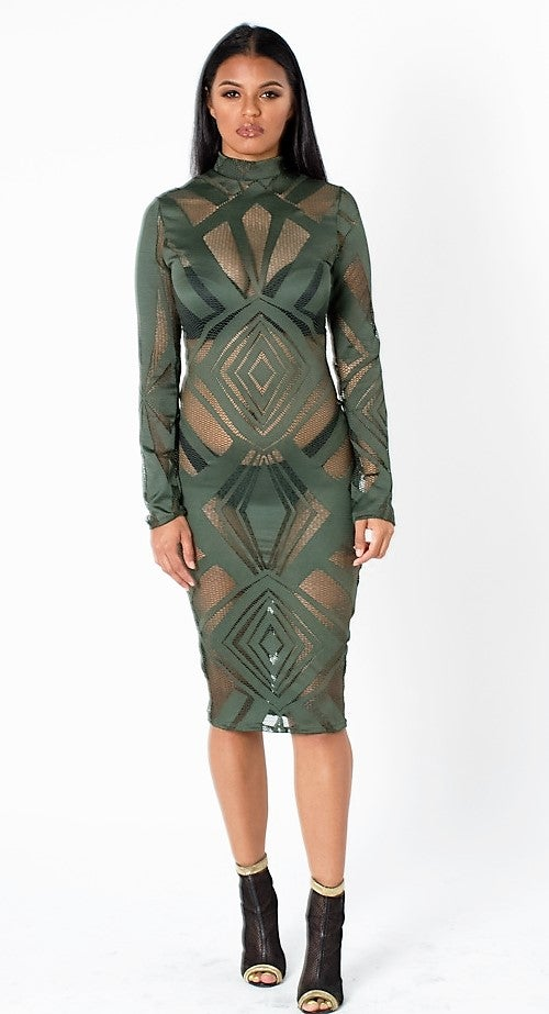 Image of Olive Diamond Cut Lace Dress