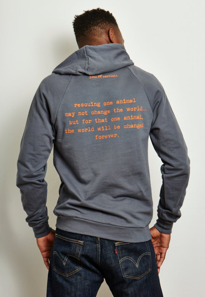 Image of guy's unisex-sized steel grey tiny tim fleece hoodie
